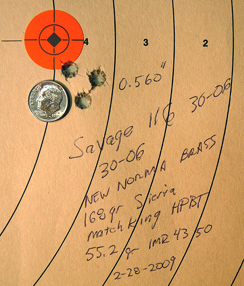 "First reloads for the Savage 116 resulted in group size reduction from ~1.25"" to 0.560"""