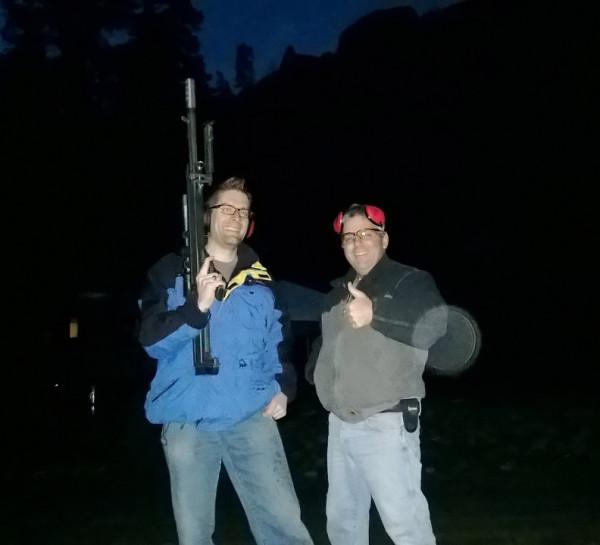 With Jim Findlay (AKA Jim the Plumber) at the Ultimate Reloader ranch shooting his Barrett 50 BMG at night